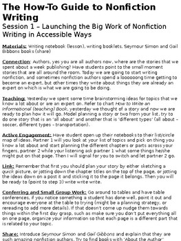 Units of Study Writing - The How To Guide to Nonfiction Writing Second Grade