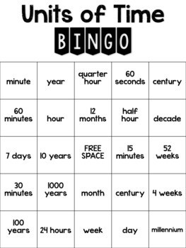 Telling Time: Units of Time Bingo