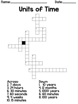 Units of Time Crossword