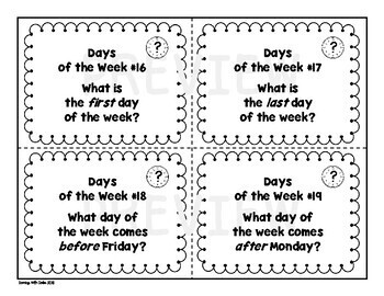 Units of Time (Days of the Week) Task Card Set