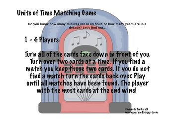Units of Time Matching Game