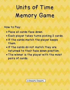 Units of Time Memory Game