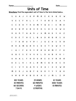 Telling Time: Units of Time Word Search