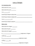 Units of Weight Guided Note Page