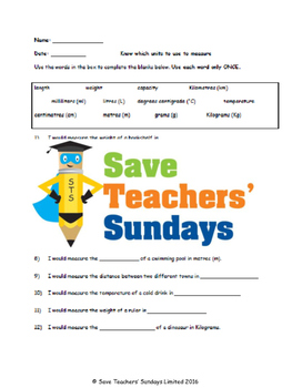 Units of measurment (metric) lesson plans, worksheets and more
