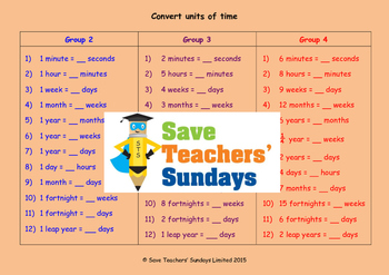 Units of time lesson plans, worksheets and more (2nd to 4th grade)