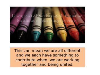 Unity: an Important Character Trait