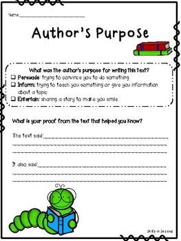 Universal Author's Purpose Graphic Organizer