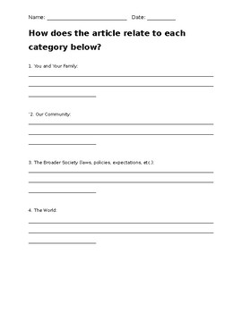 Universal Critical Thinking Worksheet