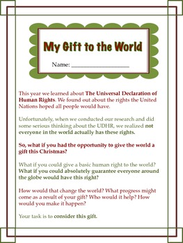 Universal Declaration of Human Rights Christmas Writing: My Gift to the World