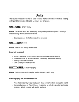 Universal English Syllabus - Outline stays same, just change texts, class # etc