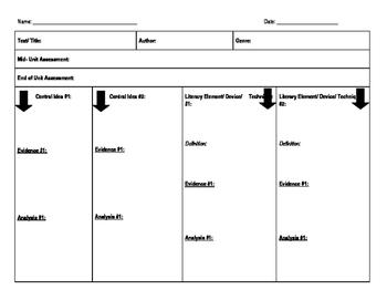 Universal Graphic Organizer for Common Core ELA 7-12
