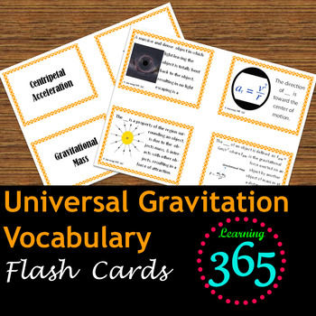 Universal Gravitation Vocabulary Flash Cards