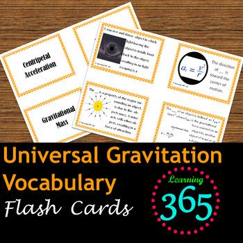 Universal Gravitation Vocabulary Flash Cards