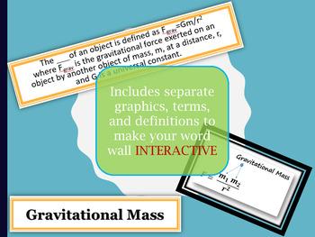 Universal Gravitation Vocabulary Interactive Word Wall