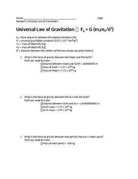 Universal Law of Gravitation Worksheet