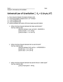 Universal Law of Gravitation Worksheet