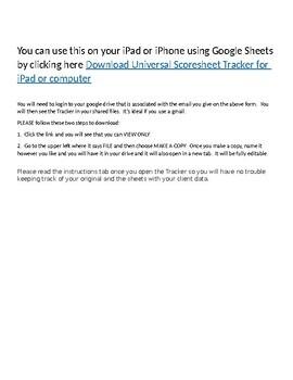 Universal Scoresheet % & Rating for iPad/computer