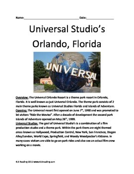 Universal Studios Florida - Informational Article Questions Vocab Word Search