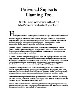 Universal Supports Planning Kit: A Guide for Special Education Teachers
