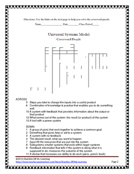 Universal Systems Model for Technology : Crossword Puzzle