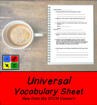 Universal Vocabulary Sheet