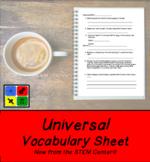 Universal Vocabulary Sheet