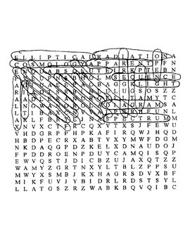 Universe Wordsearch Puzzle with Key