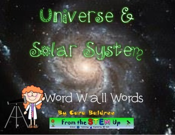 Universe and Solar System Word Wall Words and Activities