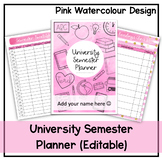University Semester Planner (Pink Watercolour) - Undated