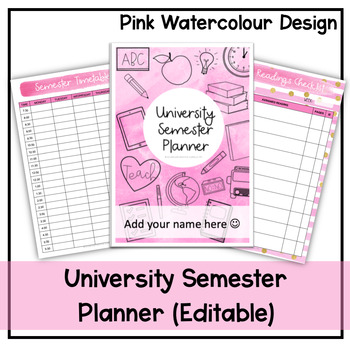 University Semester Planner (Pink Watercolour) - Undated