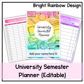 University Semester Planner (Rainbow Design) - Undated