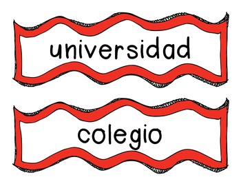 University Words in Spanish