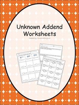 Unknown Addend - Worksheets
