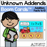 Unknown Addends Addition Facts to 10 BOOM CARDS