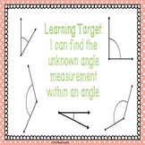 4th Grade Math Finding Unknown Missing Angle Measurements PowerPoint 4.MD.7