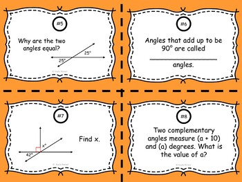 Unknown Angles Task Cards: 7.G.5