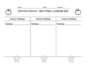 Unknown Factors Worksheet Division Multiplication