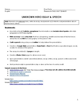 Unknown Hero Research Paper and Speech