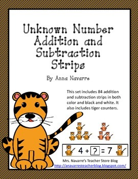 Unknown Number Addition and Subtraction Strips