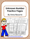 Unknown Number Practice Pages