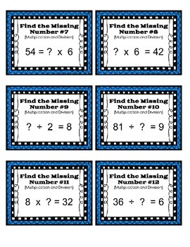 Unknown Number Task Cards (Multiplication and Division)