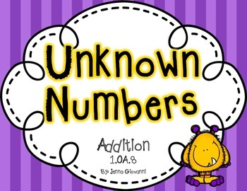Unknown Numbers Addition Equations 1.OA.8