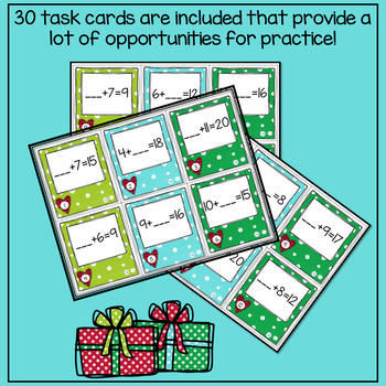 Christmas Math Unknown Numbers Addition to 20 Math Game