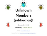 Unknown Numbers - Subtraction - Common Core 1.OA.8