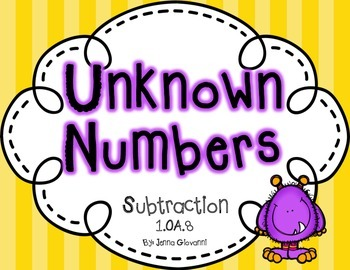 Unknown Numbers Subtraction Equations 1.OA.8