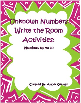 Unknown Numbers Write the Room (sums to 10)