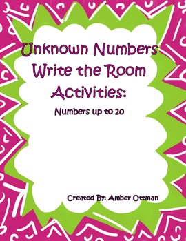 Unknown Numbers Write the Room (sums to 20)