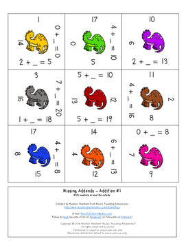 Unknown Numbers Addition to 20 | Missing Addends Addition Math Center Game
