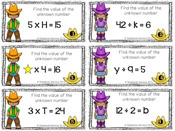 Unknown Numbers in Multiplication Division {3.5D, 3.OA.4} Activity & Task Cards